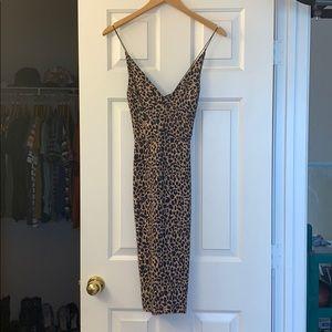 Topshop Leopard Midi Crossback dress - size 4